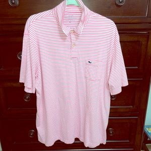 Vineyard vines pink and white striped golf shirt